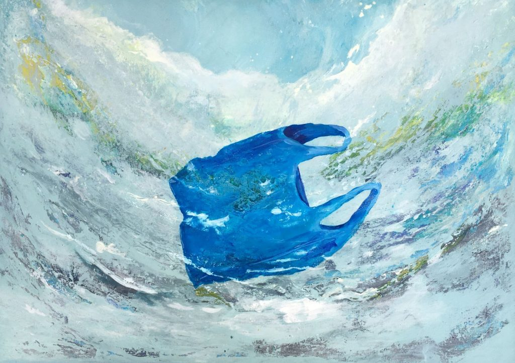 Wrong Blue In The Ocean   (A2) 42 x 59.4 cm   Acrylic on Canvas   Value: £60