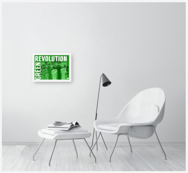 A shot of the Green Revolution poster hung on the wall